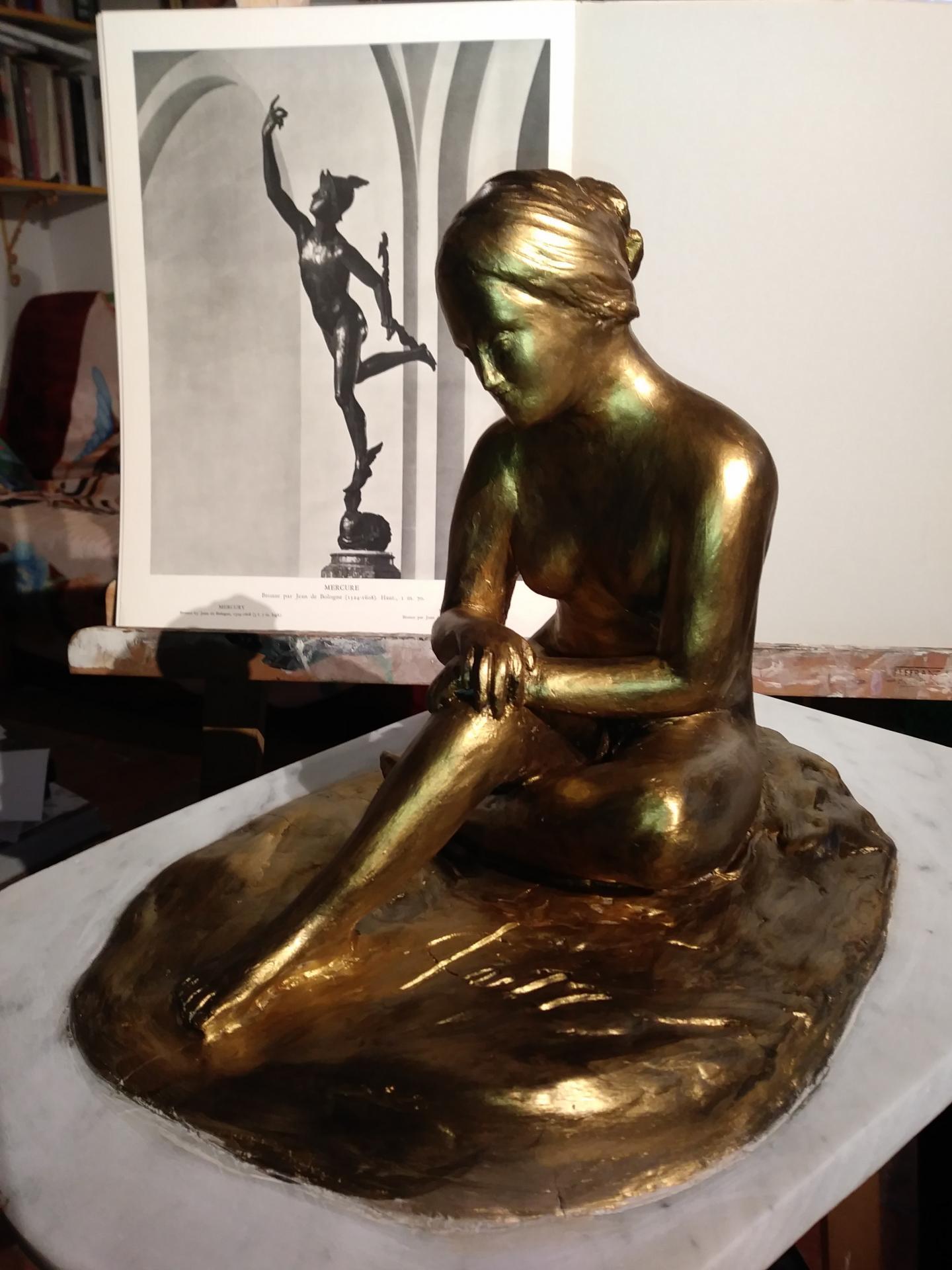 Sculpture de nue, argile patinée (baigneuse) 2