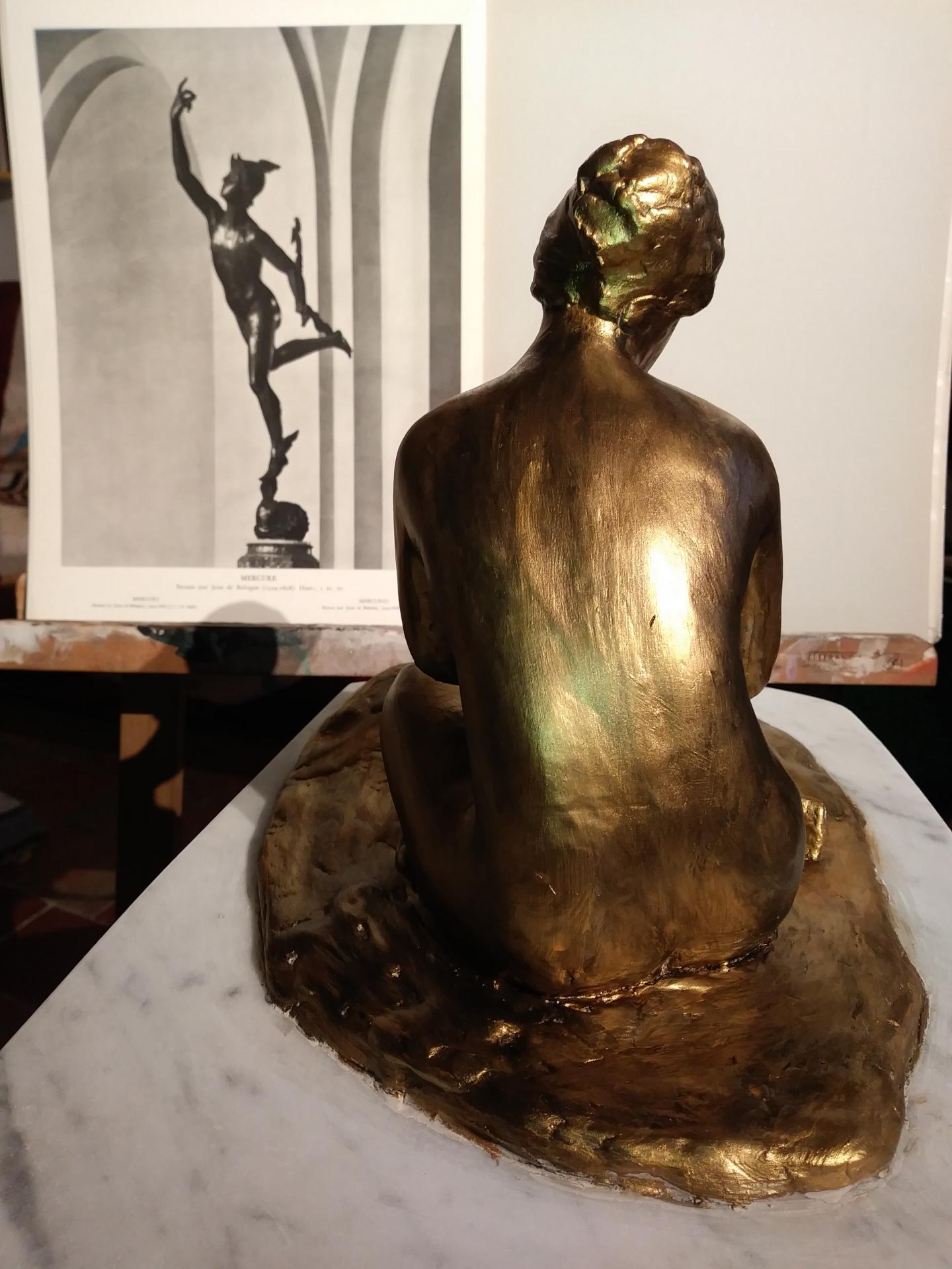 Sculpture de nue, argile patinée (baigneuse) 3