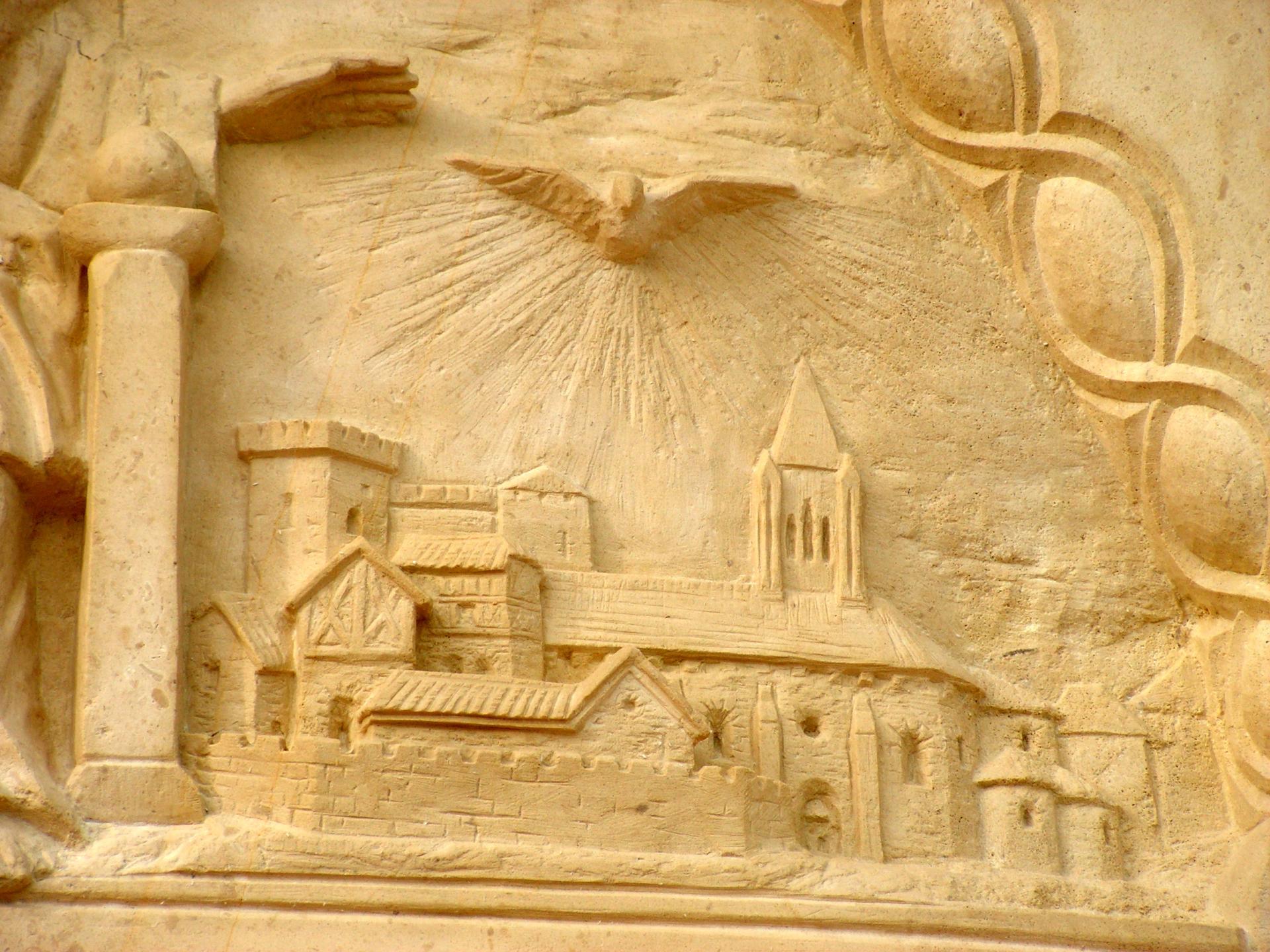 Sculpture sur pierre de jean joseph chevalier tympan de ste foy 18