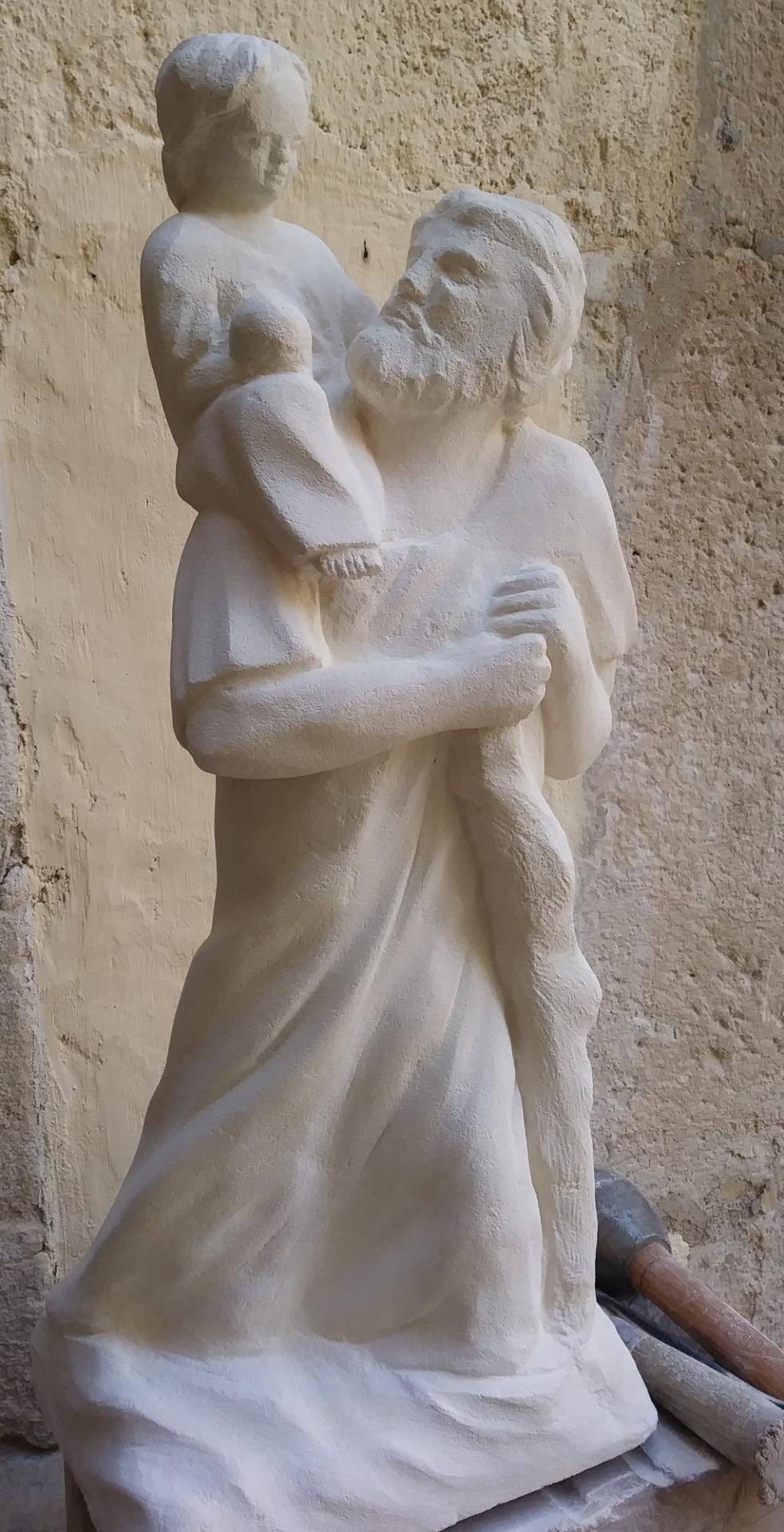 Sculpture sur pierre, ronde bosse, St Christophe, 1