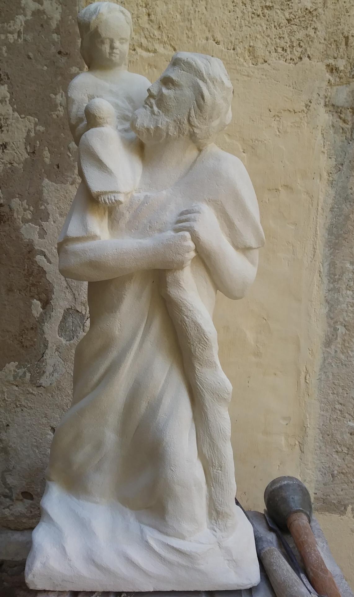 Sculpture sur pierre, ronde bosse, St Christophe