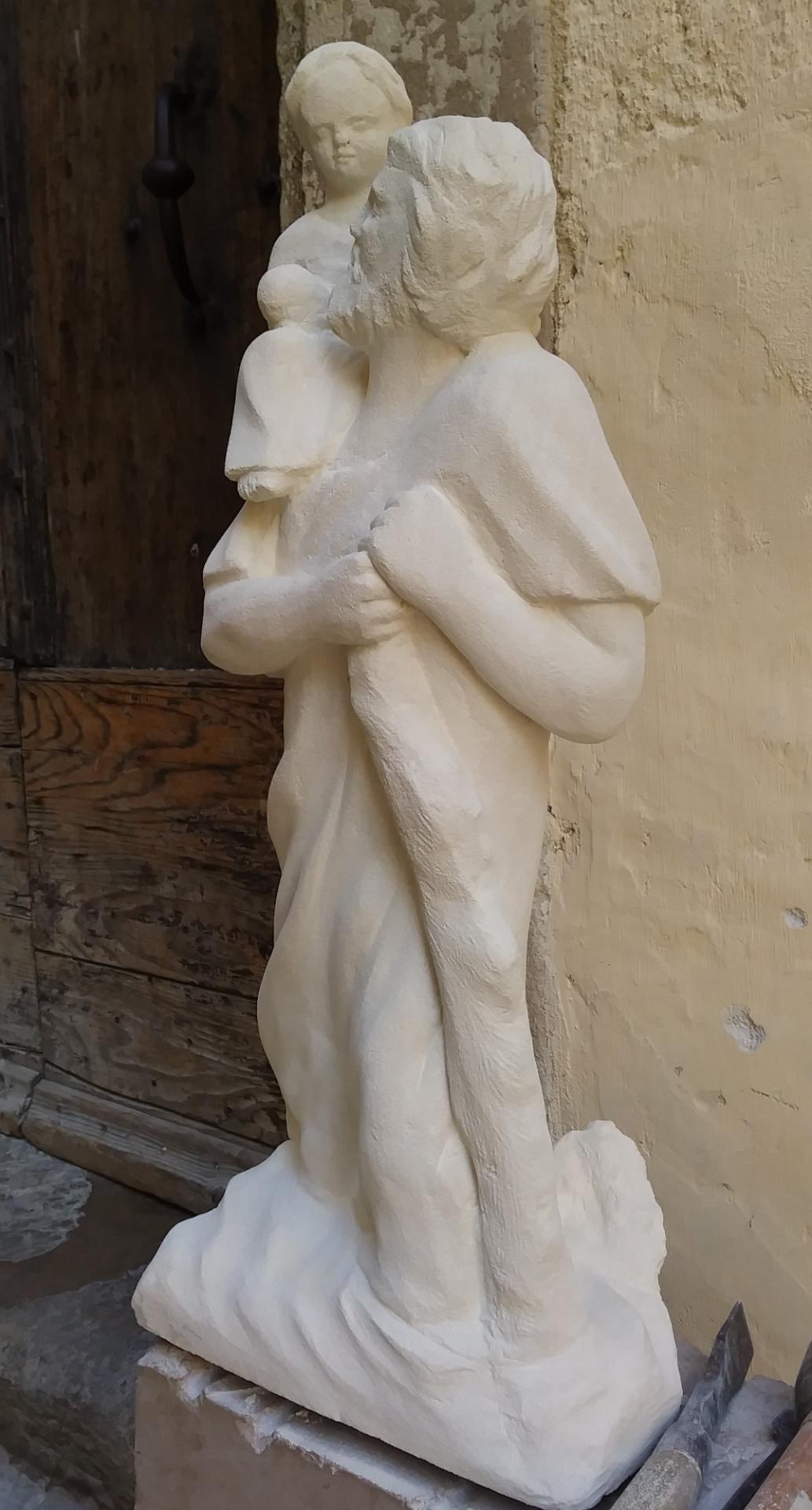 Sculpture sur pierre, St Christophe, 60cm 3