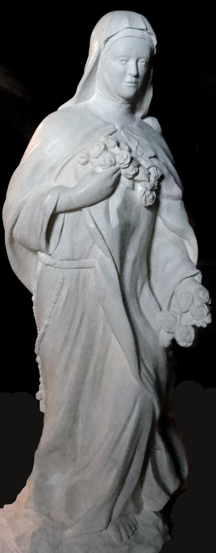 Sculpture sur pierre, statue de Ste Thérèse en ronde bosse, 2