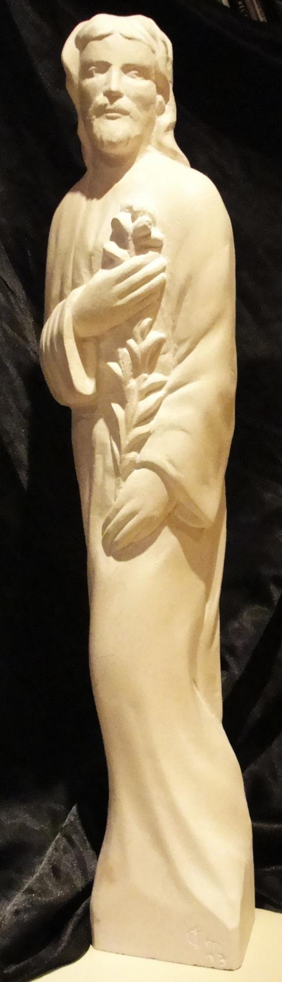 St joseph sculpture sur pierre demi relief 21