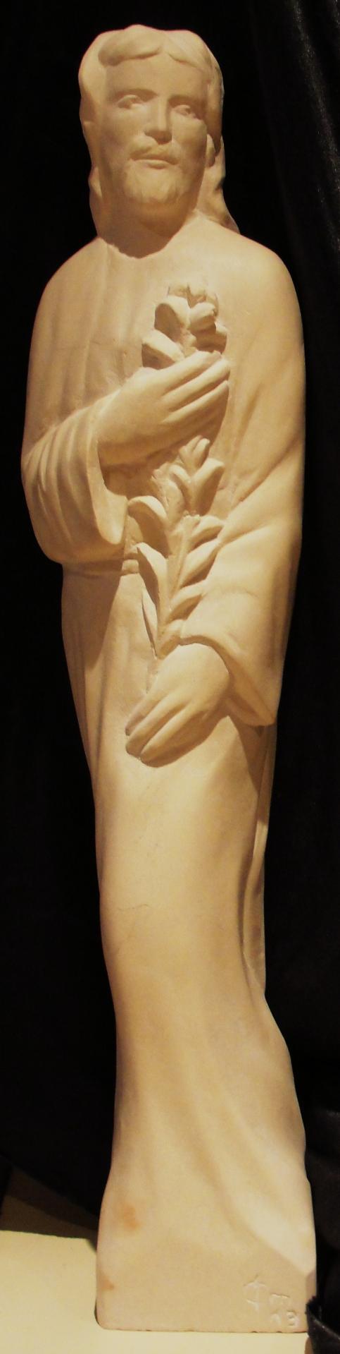 Sculpture sur pierre, demi relief de St Joseph