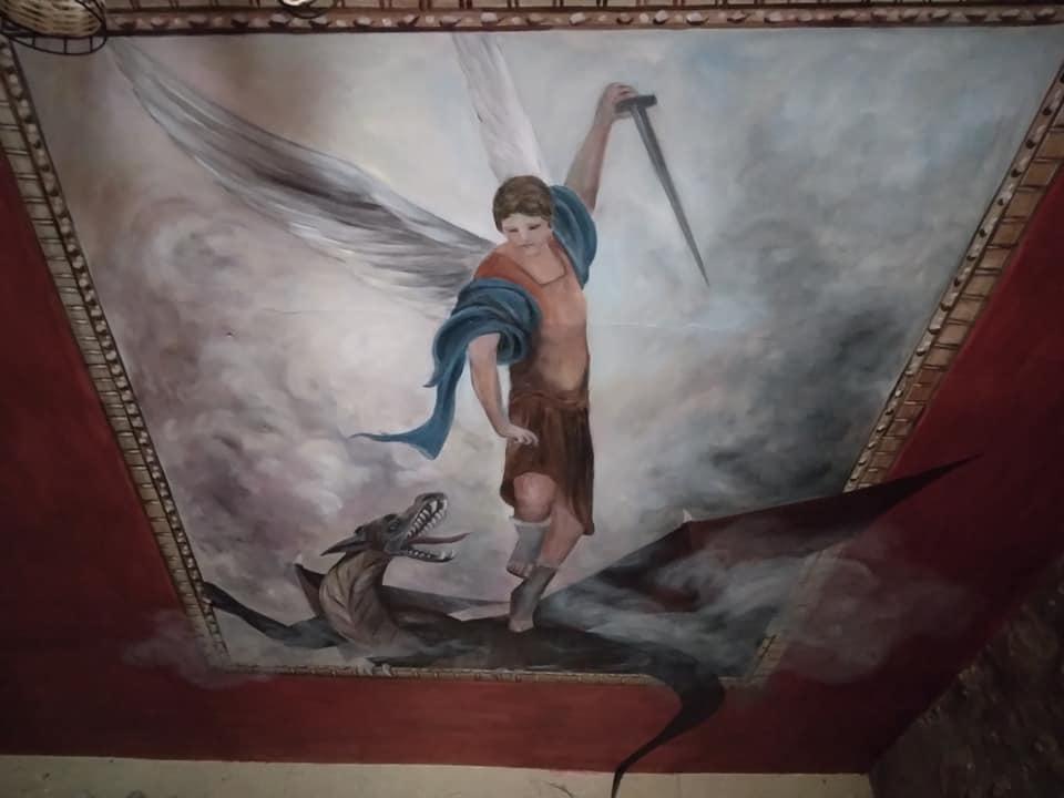 St michel terrassant le dragon anamorphose sur plafond par jean joseph chevalier 1
