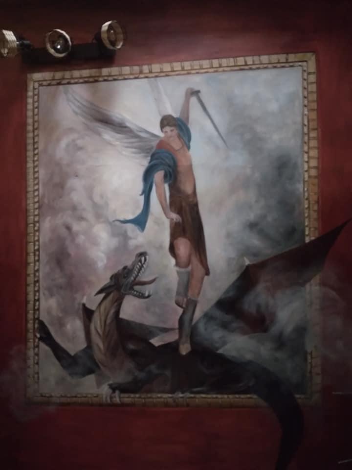 St michel terrassant le dragon anamorphose sur plafond par jean joseph chevalier