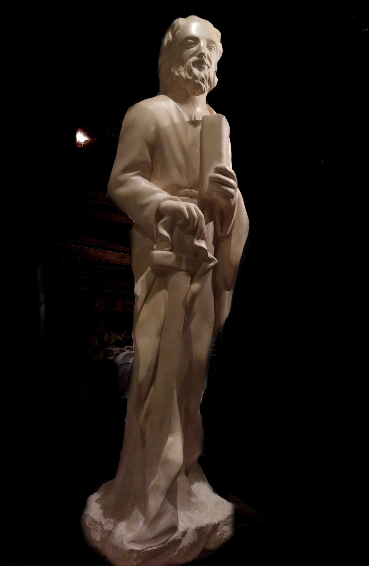 St Paul, sculpture en pierre, 1,25m de haut, réalisé pour l'abbaye de Wisques. 1