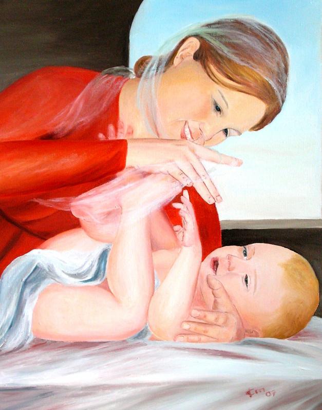 Vierge a l enfant peinture d art sacre de jean joseph chevalier