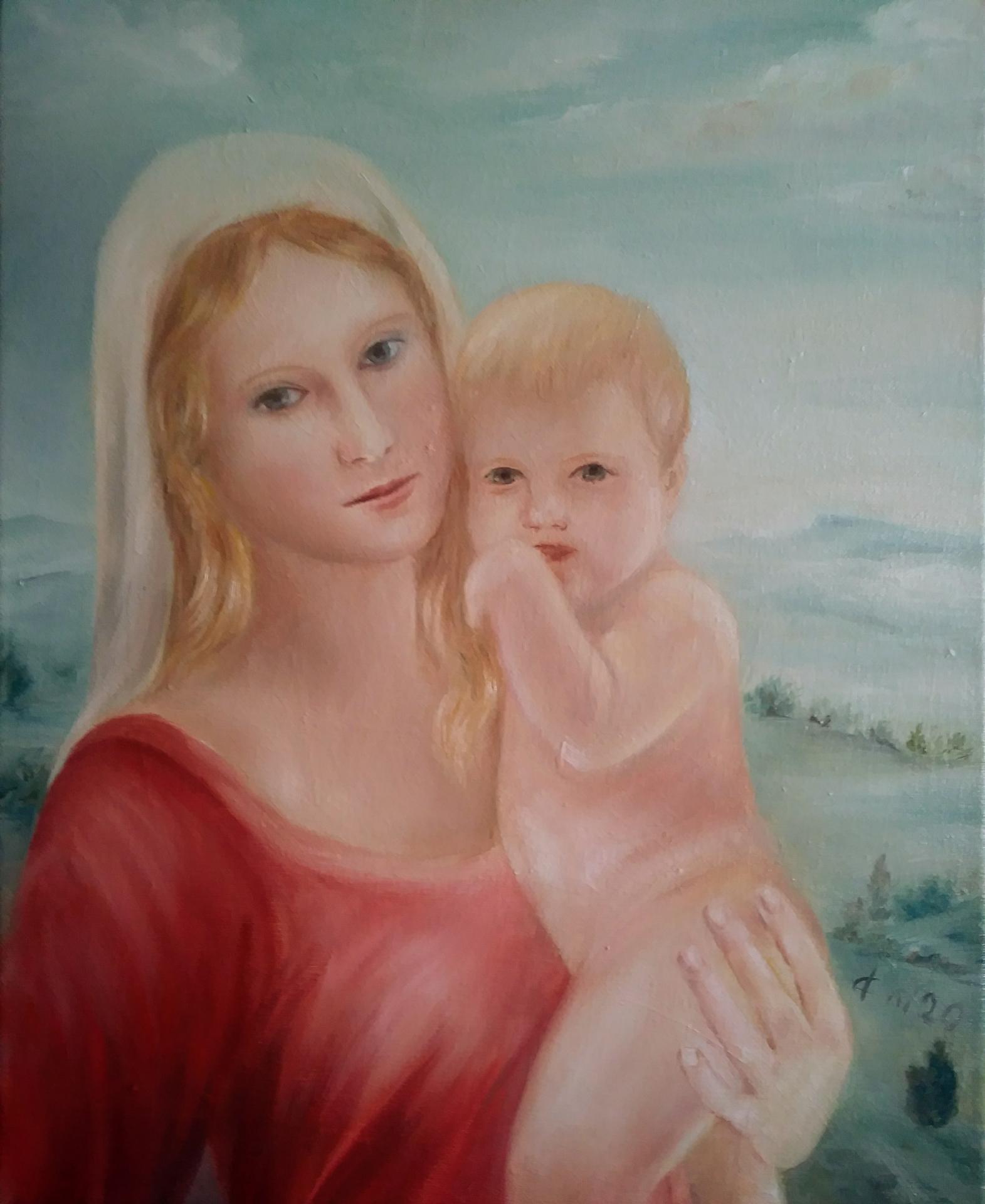Vierge a l enfant tableau d art sacre peinture de jean joseph chevalier