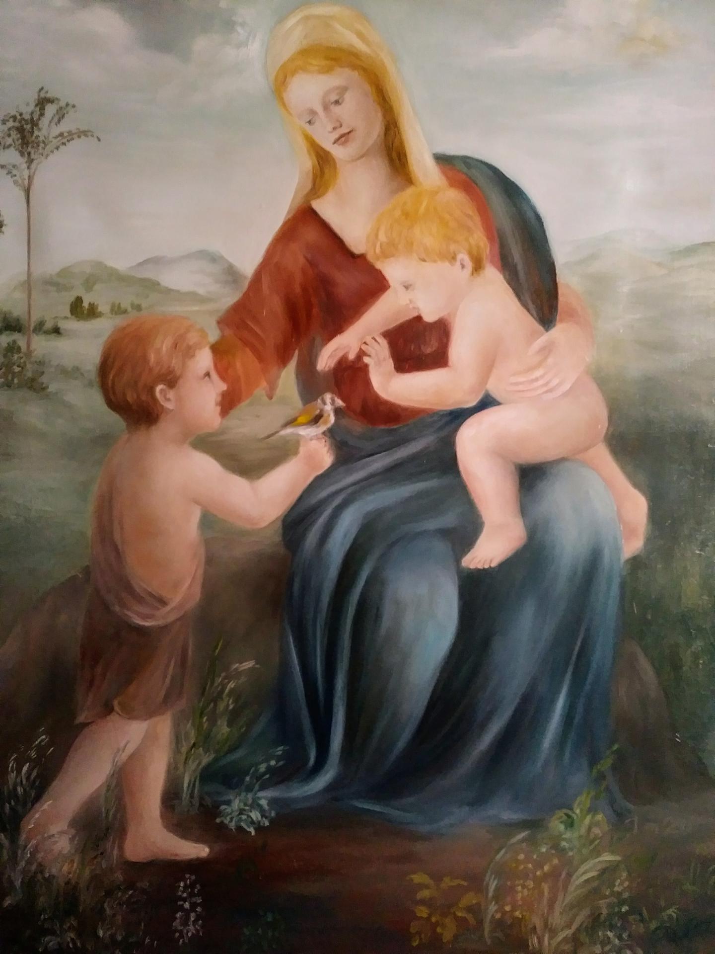 Vierge au chardonneret tableau d art sacre peinture de jean joseph chevalier